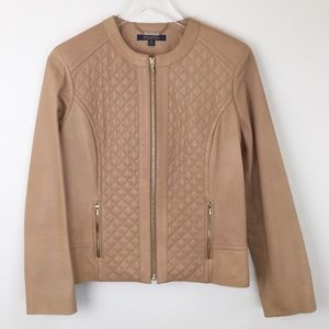 BROOKS BROTHERS camel quilted leather jacket